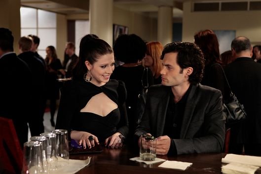 """The Princess Dowry"" GOSSIP GIRL Pictured (L-R) Michelle Trachtenberg as Georgina Sparks and Penn Badgley as Dan Humphrey"