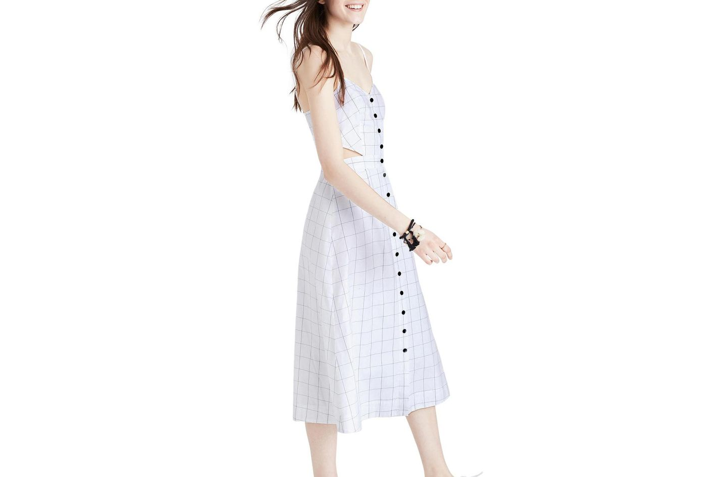Madewell Windowpane Cutout Midi Dress
