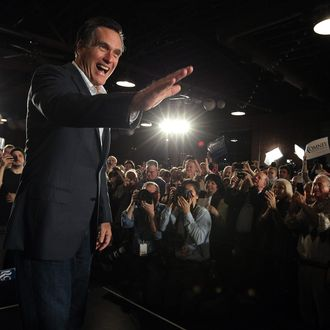 COLUMBIA, SC - JANUARY 11: Republican presidental hopeful and former Massachusetts Gov. Mitt Romney greets supporters during a campaign rally at The Hall at Senate's End on January 11, 2012 in Columbia, South Carolina. A day after winning the New Hampshire primary, Mitt Romney is launching his campaign in South Carolina. (Photo by Justin Sullivan/Getty Images)