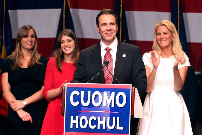 NEW YORK, NY - NOVEMBER 04:  Gov. Andrew Cuomo, Sandra Lee and family on stage after Andrew Cuomo won re-election for a second term, at the Sheraton on November 4, 2014 in New York City.  (Photo by Steve Sands/Getty Images)