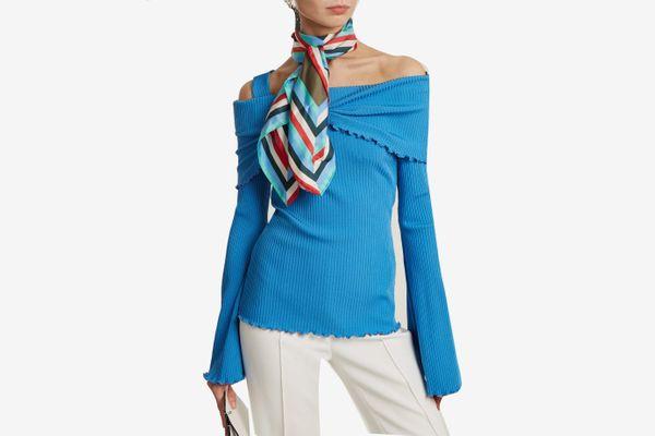 Diane von Furstenberg Cubic Print Striped Silk Scarf