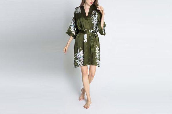 Sumi Short Silk Kimono Robe