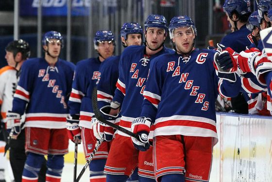 NEW YORK, NY - DECEMBER 23:  Ryan Callahan #24 of the New York Rangers celebrates his third period goal against the Philadelphia Flyers on December 23, 2011 at Madison Square Garden in New York City.  (Photo by Jim McIsaac/Getty Images)