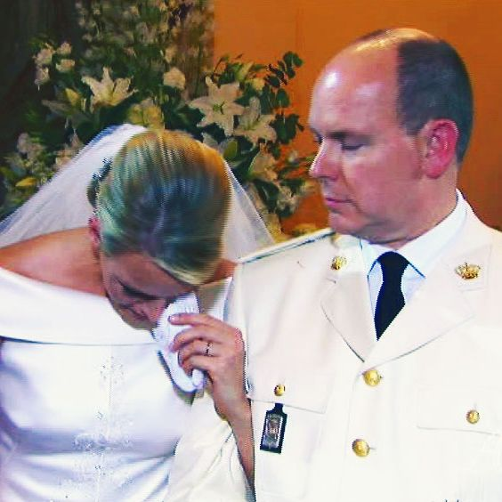 Princess Charlene and Prince Albert of Monaco on their wedding day.