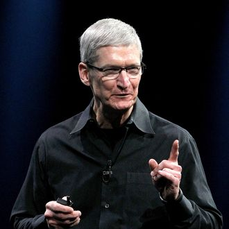 SAN FRANCISCO, CA - JUNE 11: Apple CEO Tim Cook delivers the keynote address at the Apple 2012 World Wide Developers Conference (WWDC) at Moscone West on June 11, 2012 in San Francisco, California. Apple unveiled a slew of new hardware and software updates at the company's annual developer conference which runs through June 15. (Photo by Justin Sullivan/Getty Images)