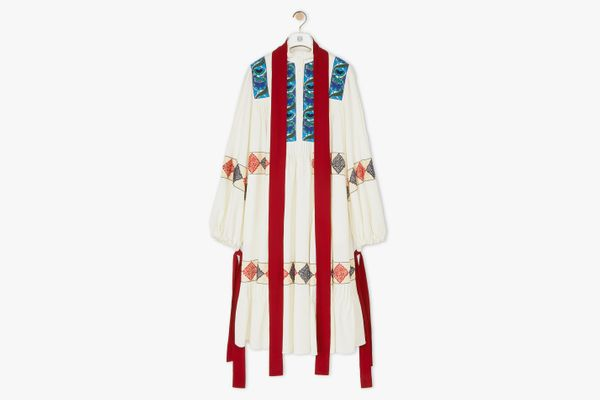 Loewe Embroidered Oversize Dress Ecru