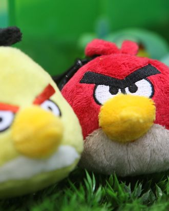 LONDON, ENGLAND - JANUARY 25: Angry Birds plush toys on display at the Toy Fair 2011 at Olympia Exhibition Centre on January 25, 2011 in London, England. (Photo by Tim Whitby/Getty Images)
