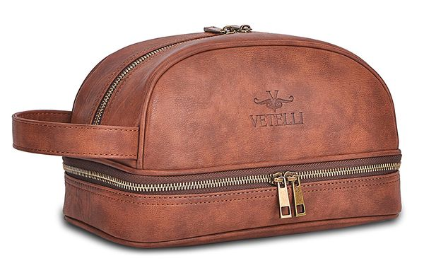 Vetelli Leather Toiletry Bag With Travel Bottles
