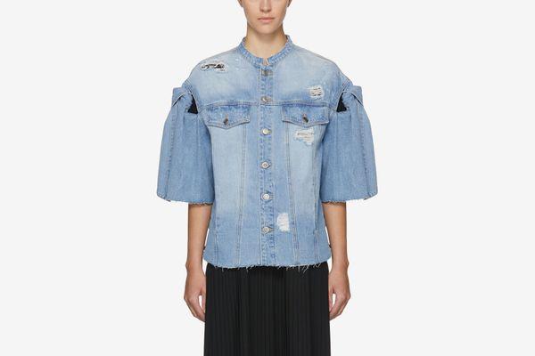 SJYP Blue Denim Ribbon Tie Jacket
