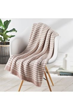 Splendid Home Decor Double Stripe Knit Throw Blanket