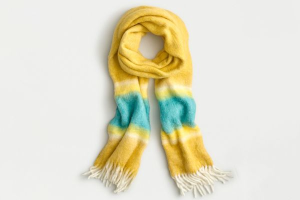 J.Crew Fuzzy Fringe Scarf with Watercolor Stripe