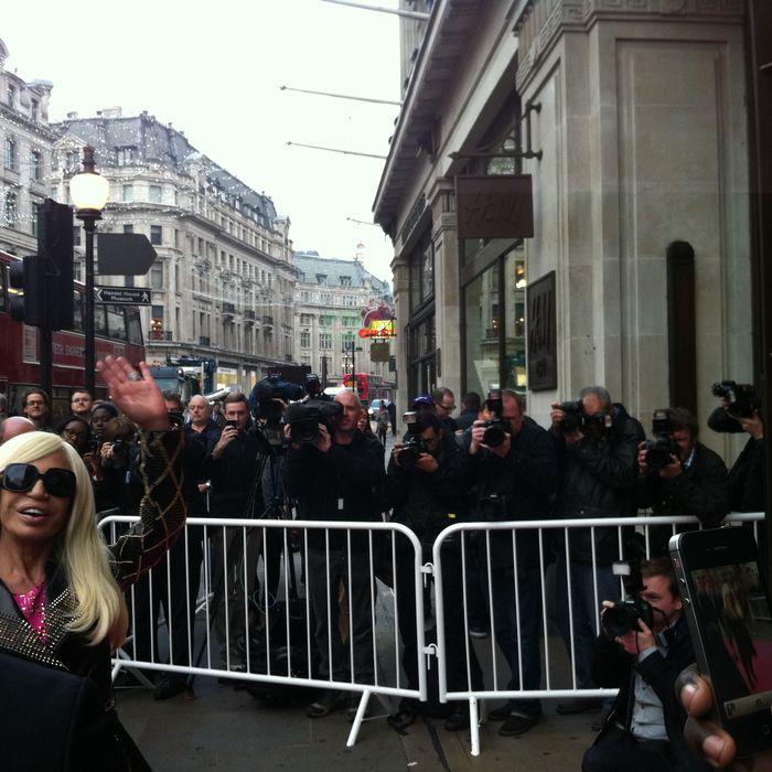 Donatella Versace's arrival