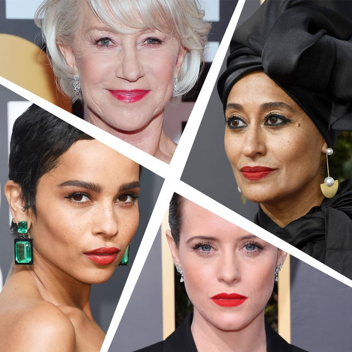 Tracee Ellis Ross, Claire Foy, Zoe Kravitz, and Helen Mirren at the 2018 Golden Globes.