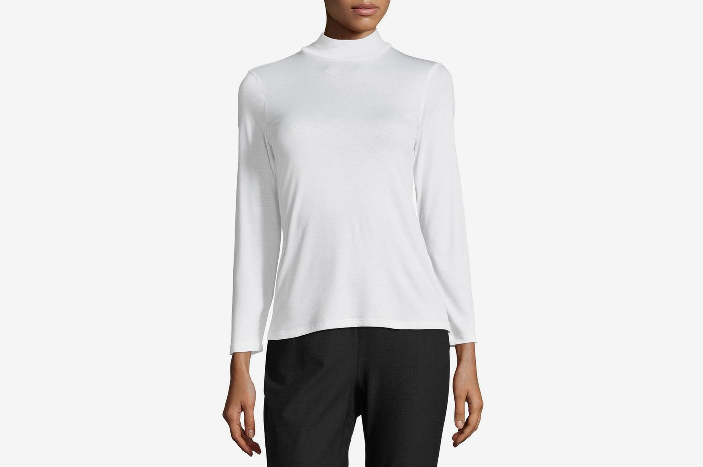 Eileen Fisher Micro-Rib Mock-Neck Bracelet-Sleeve Top