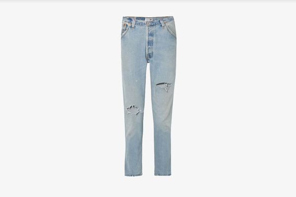 Re/DONE + Levi's distressed high-rise slim-leg jeans