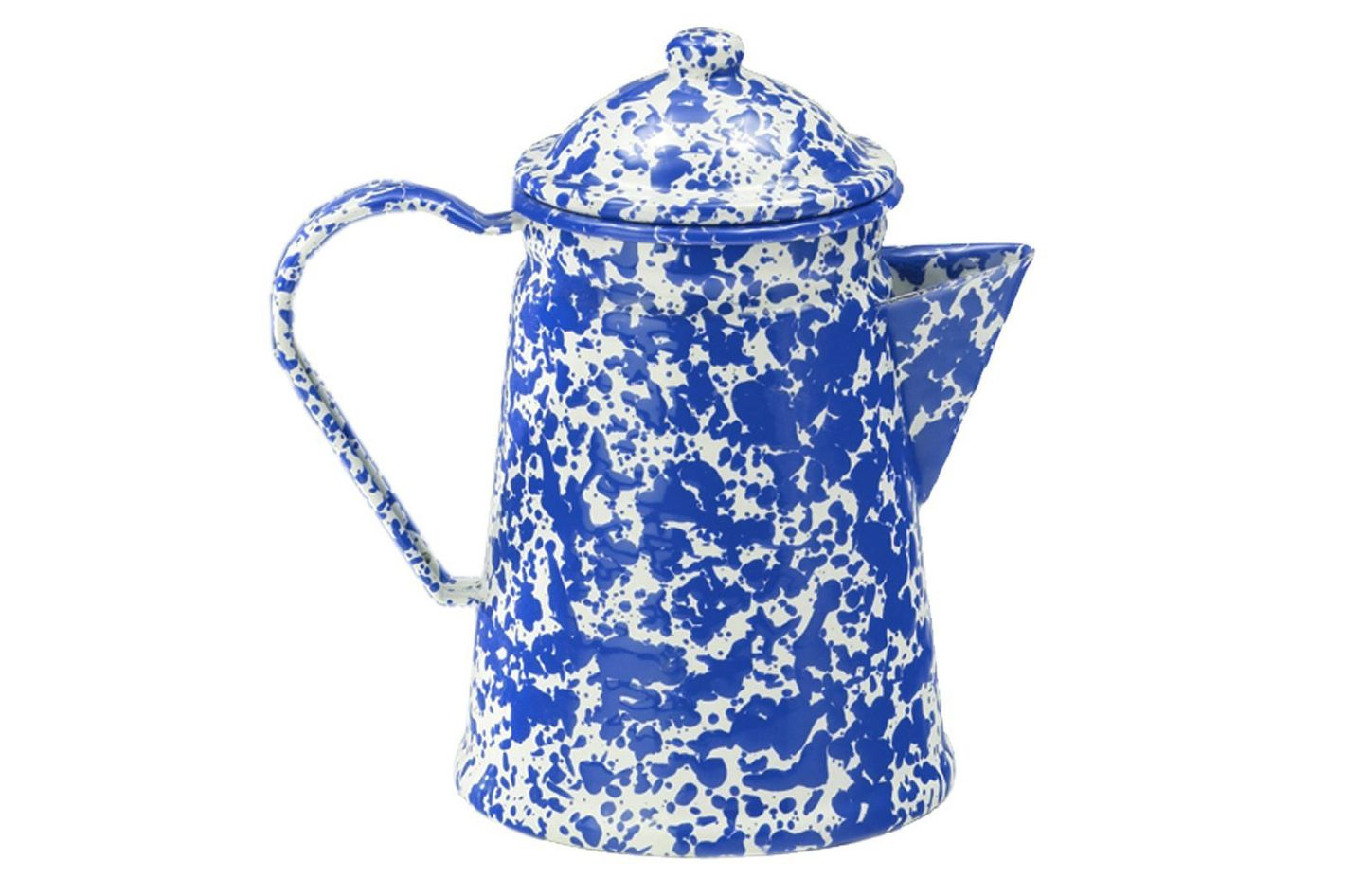 Enamelware Coffee Pot — Blue Marble With Percolator