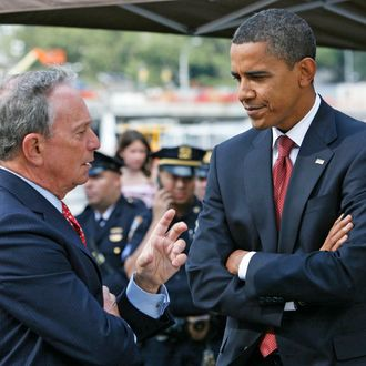 NEW YORK - SEPTEMBER 11: Democratic presidential nominee Barack Obama and New York City Mayor Michael Bloomberg talk at Ground Zero on the seventh anniversary of the terrorist attacks September 11, 2008 in New York City. Obama and Republican presidential nominee John McCain visited the World Trade Center area together to pay tribute to the more than 2,700 people killed on September 11, 2001. (Photo by Shannon Stapleton-Pool/Getty Images) *** Local Caption *** Michael Bloomberg;Barack Obama