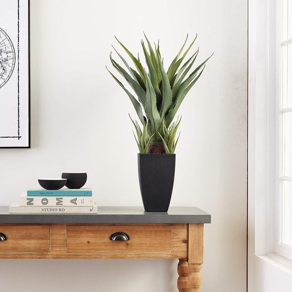 Nearly Natural Agave Plant with Black Planter