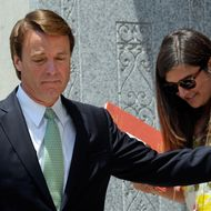 GREENSBORO, NC - MAY 31: Former U.S. Sen. John Edwards holds the door for his daughter Cate Edwards as they leave for lunch on the ninth day of jury deliberations at federal court May 31, 2012 in Greensboro, North Carolina. Edwards, a former presidential candidate, plead not guilty to six counts of campaign finance violations and could face a maximum of 30 years in jail and $1.5 million in fines. (Photo by Sara D. Davis/Getty Images)