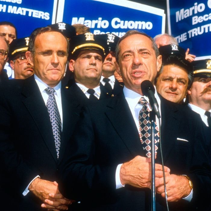 200942 04: FILE PHOTO New York City's Mayor Rudolph Giuliani, left, at a press confrence endorsing Mario Cuomo for Governor of New York October 25, 1994 in New York City. Giuliani recently announced that he has been diagnosed with prostate cancer. (Photo by Porter Gifford/Liaison)