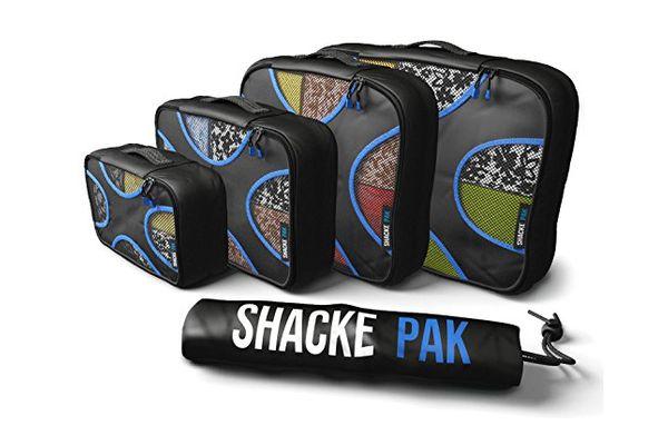 Shacke Pak — 4 Set Packing Cubes — Travel Organizers with Laundry Bag