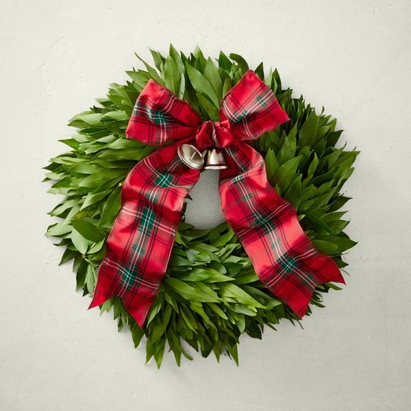 Bay Leaf Wreath with Tartan Ribbon