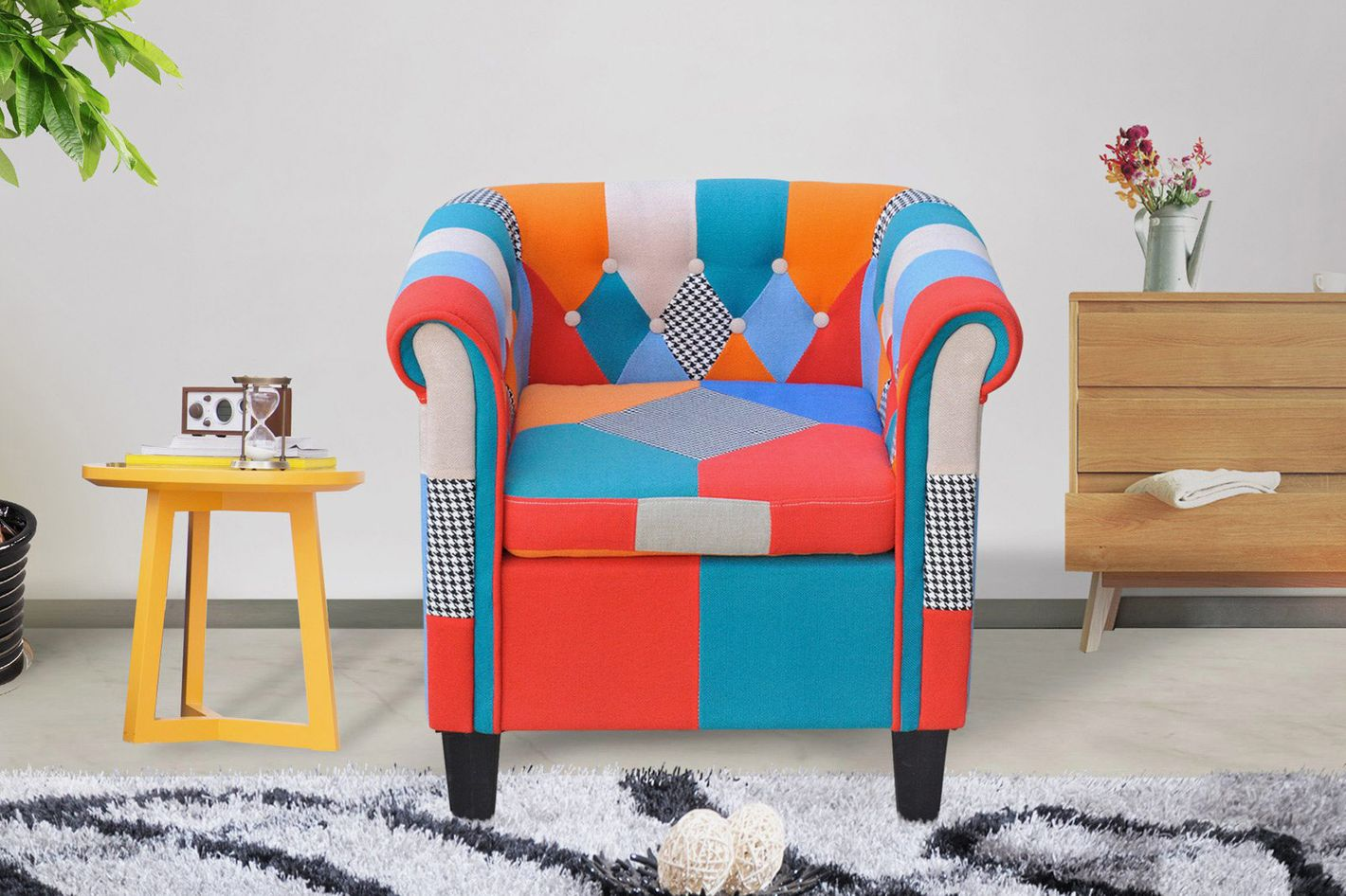 Cloud Mountain Multi-Color Patchwork Tufted Arm Chair
