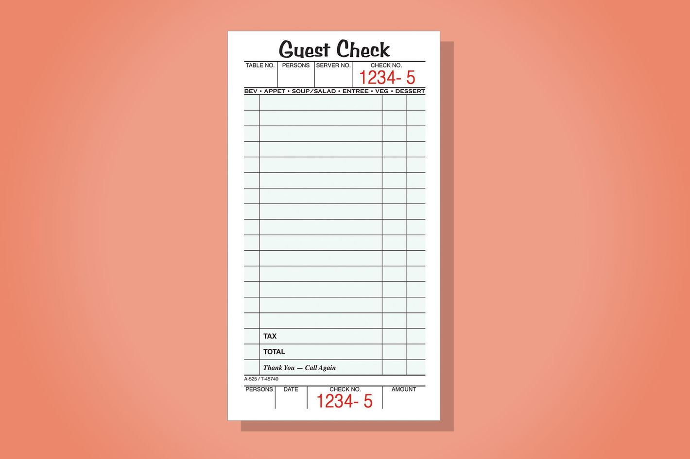 Adams Guest Check Pads, 10 pack