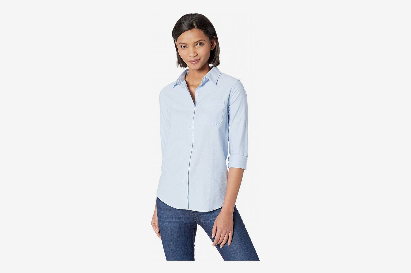 419066fb Amazon Essentials Women's Long-Sleeve Classic-Fit Oxford Shirt at Amazon