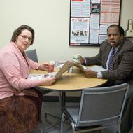 """THE OFFICE -- """"Customer Survey"""" Episode 6 -- Pictured: (l-r) Phyllis Smith as Phyllis Lapin, Leslie David Baker as Stanley Hudson."""