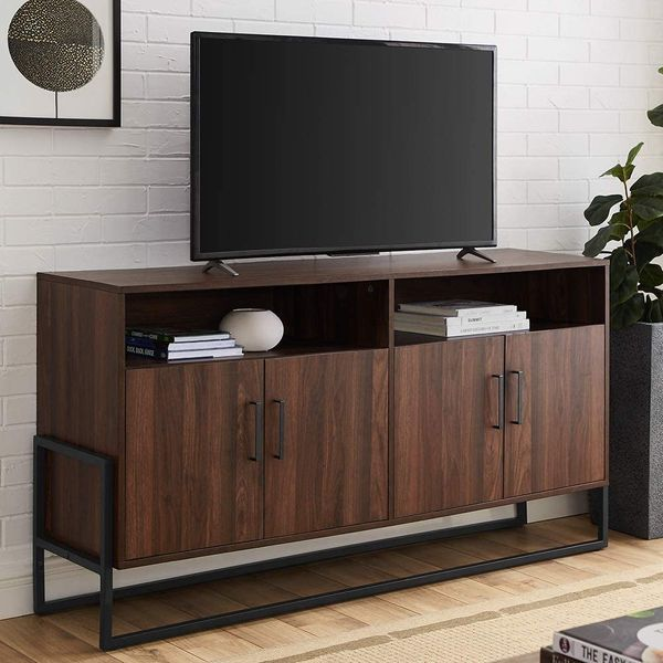 Walker Edison Modern Wood and Metal Universal TV Stand