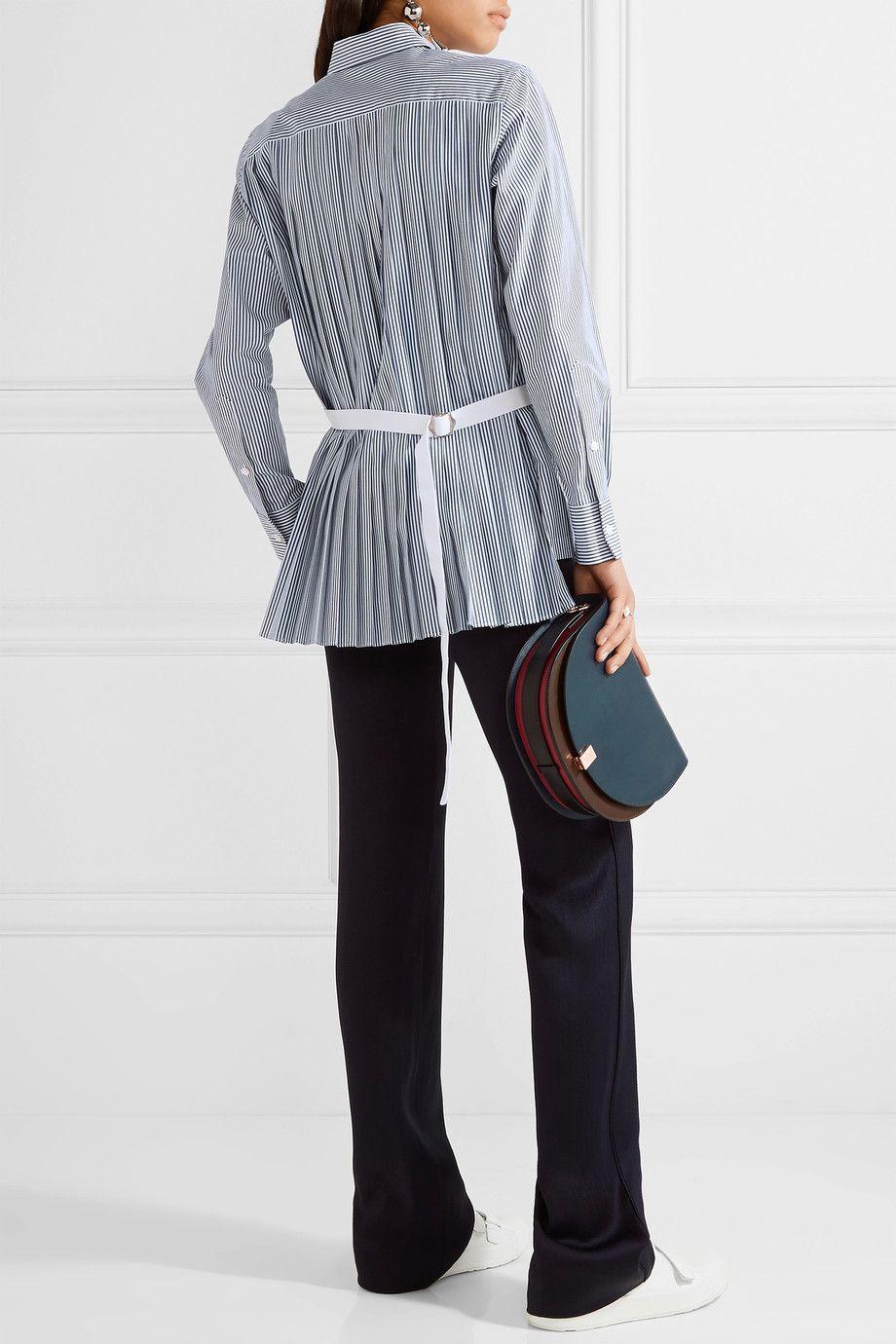 Sacai pleated striped cotton-poplin shirt