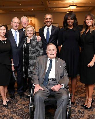 Four presidential families, one photo.