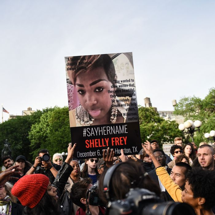 Protesters at a #SayHerName rally at Union Square on Wednesday, May 20.