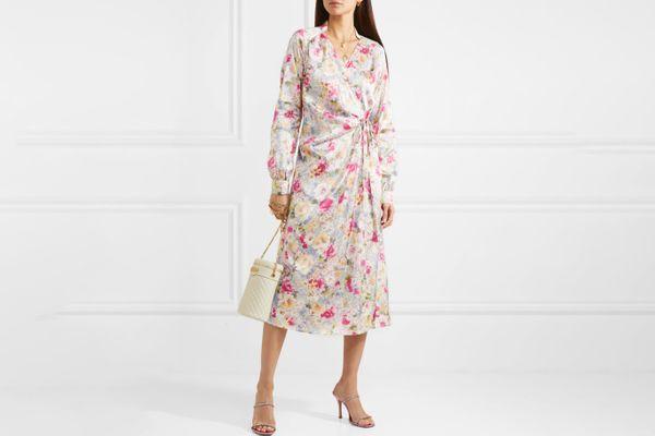 Art Dealer Michelle Gathered Floral-Print Wrap Dress