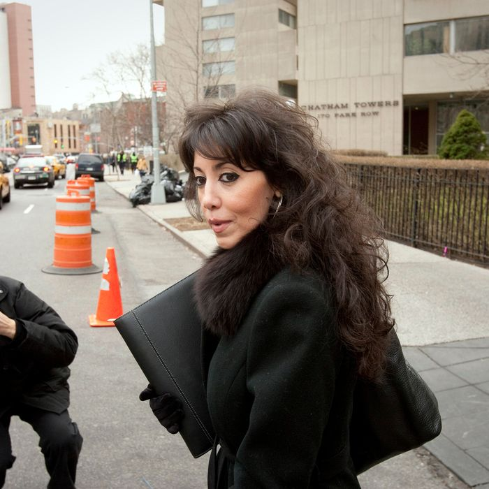 Sandy Annabi, former Yonkers city councilwoman, exits federal court following a pretrial conference in New York, U.S., on Tuesday, Feb. 14, 2012. Annabi is charged with public corruption crimes.
