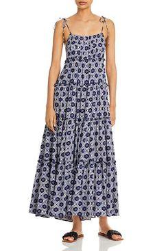 Aqua Batik Tiered Maxi Dress