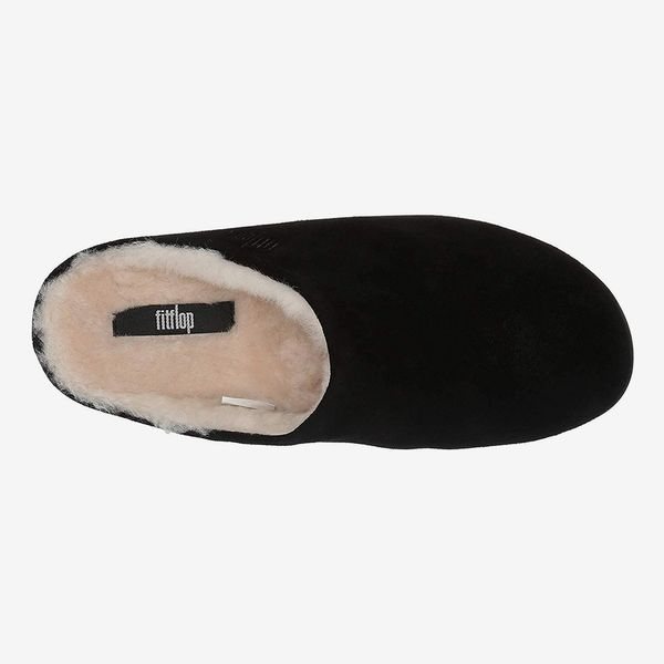 Fitflop Women's Chrissie Shearling Open Back Slippers, Black