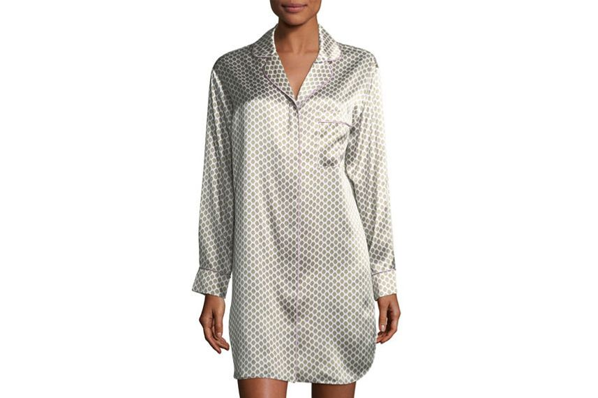 Olivia Von Halle Poppy Six Long-Sleeve Silk Sleepshirt
