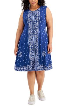 Style & Co Plus Size Printed Shift Dress