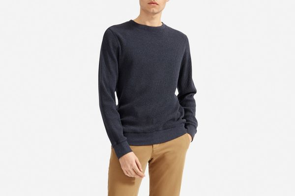 Everlane Men's Waffle-Knit Crew, Navy Heather