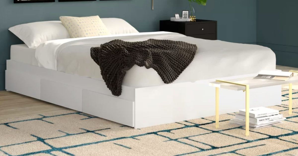 Modern Platform Beds With Storage, Queen Platform Bed Frame With Storage White