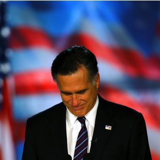 BOSTON, MA - NOVEMBER 07: Republican presidential candidate, Mitt Romney, speaks at the podium as he concedes the presidency during Mitt Romney's campaign election night event at the Boston Convention & Exhibition Center on November 7, 2012 in Boston, Massachusetts. After voters went to the polls in the heavily contested presidential race, networks projected incumbent U.S. President Barack Obama has won re-election against Republican candidate, former Massachusetts Gov. Mitt Romney. (Photo by Joe Raedle/Getty Images)