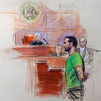 This artist rendering shows Amine El Khalifi before U.S. District Judge T. Rawles Jones Jr. in federal court