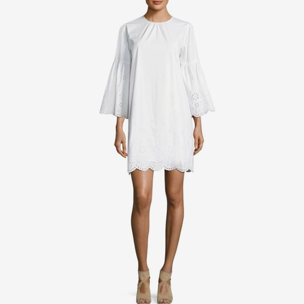 Michael by Michael Kors Eyelet Scallop Shift Dress- strategist best White above knee dress long sleeve