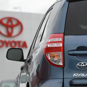 OAKLAND, CA - FEBRUARY 24: A Toyota RAV4 sits on the sales lot at a Toyota dealership on February 24, 2011 in Oakland, California. Toyota announced today that it will recall nearly 2.2 million vehicles that have floor mats that could interfere with their gas pedals. The list of cars to be recalled includes 761,000 2006-10 RAV4, 603,000 2003-09 4Runner models and 17,000 2008-11 Lexus LX 570 models. (Photo by Justin Sullivan/Getty Images)