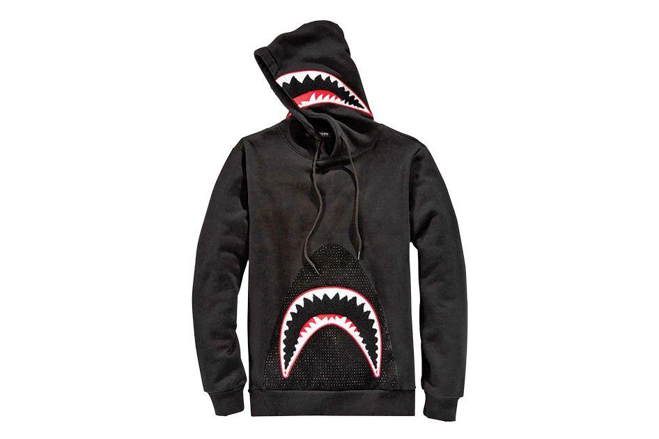 Black Studded Shark Hoodie