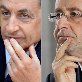 A combination made on April 22, 2012 shows a file picture taken on February 27, 2012 in Paris showing France's President and UMP party candidate for the 2012 French presidential elections Nicolas Sarkozy (L) and a file picture taken on March 6, 2012 in Villeneuve-la-Garenne showing France's Socialist Party (PS) candidate for the 2012 French presidential election Francois Hollande. Hollande won the first round of the French presidential vote on April 22, 2012, setting himself up for a May 6 run-off with right-wing incumbent Sarkozy. AFP PHOTO / PHILIPPE WOJAZER / PATRICK KOVARIK (Photo credit should read PHILIPPE WOJAZER/AFP/Getty Images)