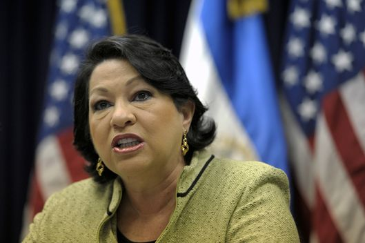 US Associate Justice of the Supreme Court Sonia Sotomayor during a press conference in San Salvador on August 16, 2011.
