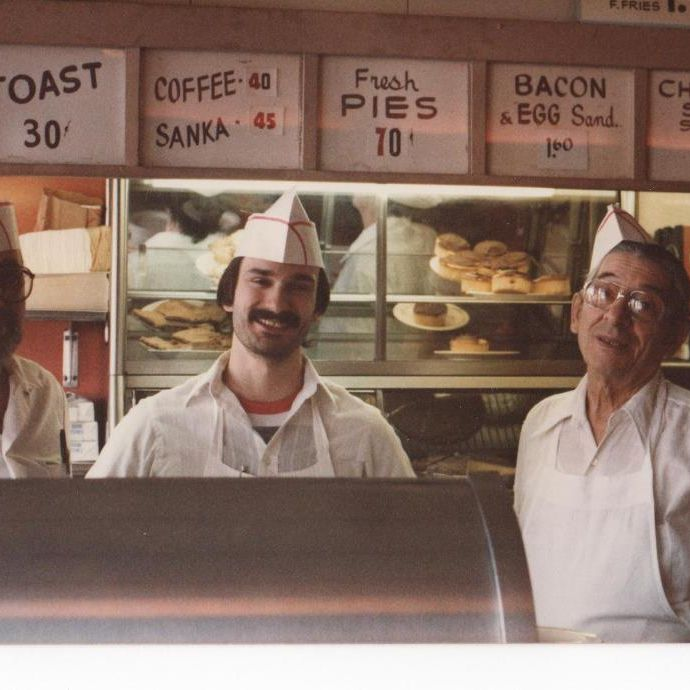 The Stevens family at Olneyville NY System, home of Rhode Island's best hot wieners.